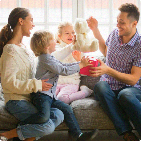 family playing on the couch