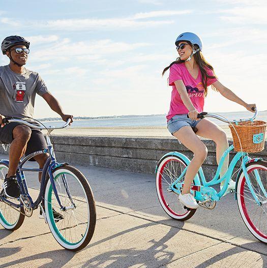 two women riding life is good bikes
