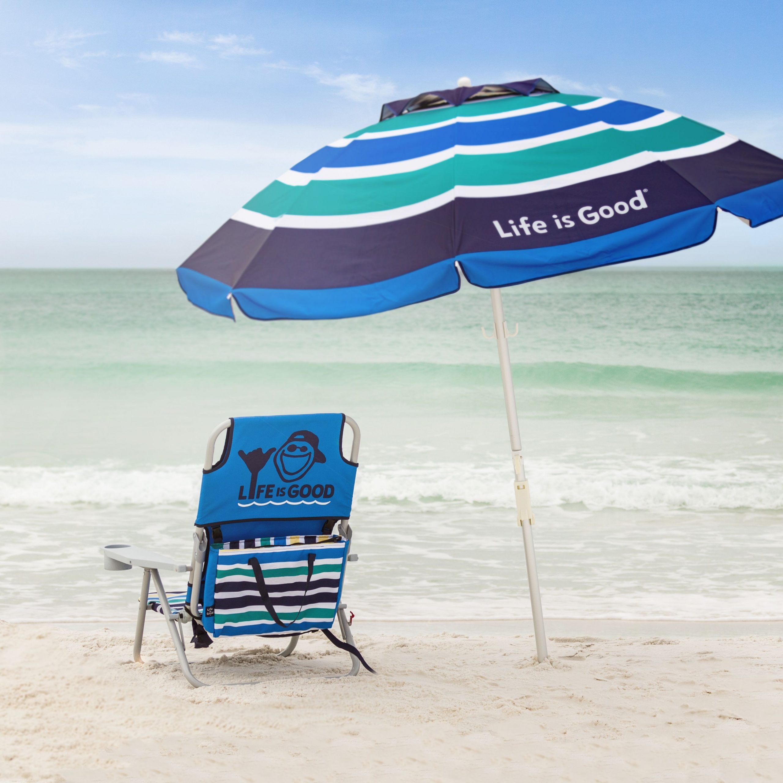 Life is Good beach chair and umbrella